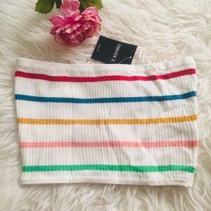 COPY - Forever 21 White Stripe Knit Crop Top. Siz…
